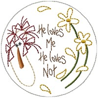 Machine-He Loves Me Annie Candle Mat- 4 inch & Larger