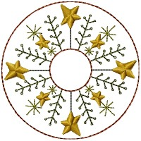 Machine-Pine Berry Star Candle Mat -4 inch & Larger