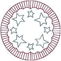 Machine-Stars & Stripes Candle Mat 4 Inch & Larger